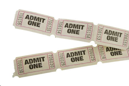 vintage admit one tickets close up  Stock Photo