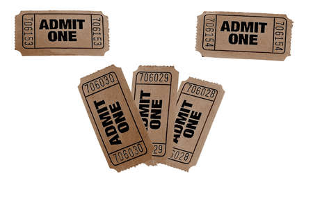 admit one: vintage admit one tickets close up  Stock Photo