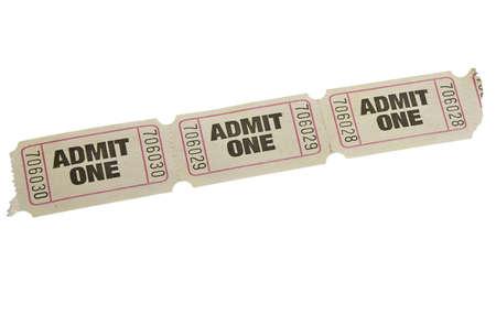 raffle ticket: vintage admit one tickets close up  Stock Photo