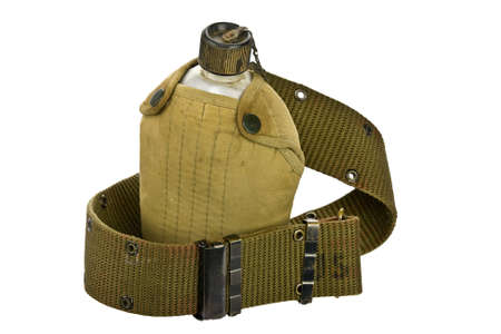 drab: vintage Canteen and Cover with a Cartridge belt  Stock Photo