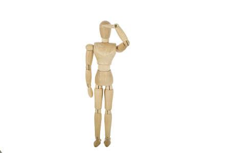 wooden mannequin saluting  photo