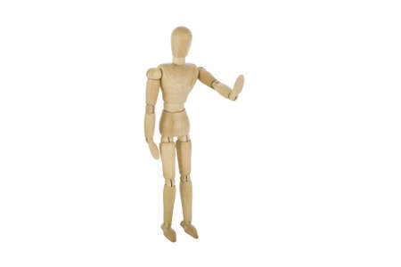 wooden mannequin showing stop photo