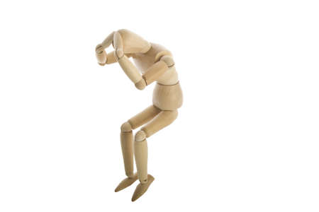 wood figurine: Wooden Mannequin with head ache Stock Photo
