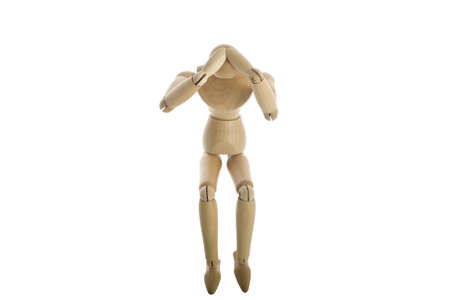 Wooden Mannequin with head ache photo