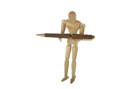 wooden doll: wooden mannequin holding pen