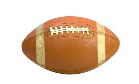 leather ball: F�tbol americano viejo aislado sobre un fondo blanco