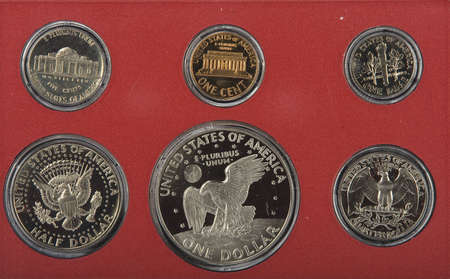 United states proof coins isolated photo