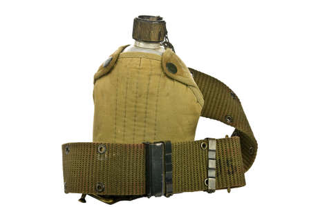 drab: vintage Canteen and Cover with a Cartridge belt