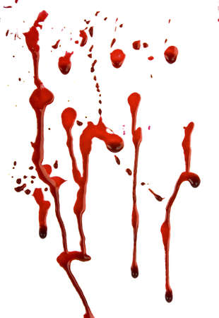 drop of blood: Dripping blood isolated on white