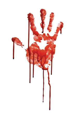 creepy hand: Bloody hand-print isolated on white