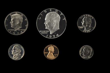 roosevelt: United states proof coins isolated on white  Stock Photo