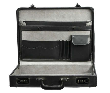 Open empty Black leather briefcase isolated on white Stock Photo - 15815482