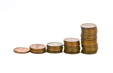 Full set of american coins stacked increasing   Stok Fotoğraf