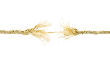 Frayed rope isolated over a white background  photo