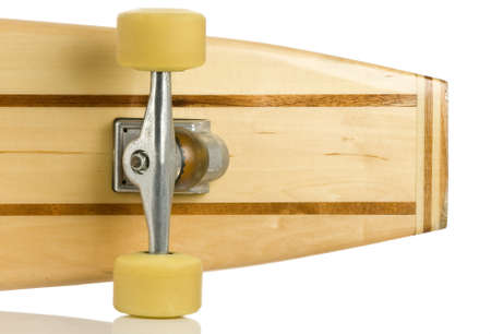 skate board: Old wood longboard skate board isolated on white