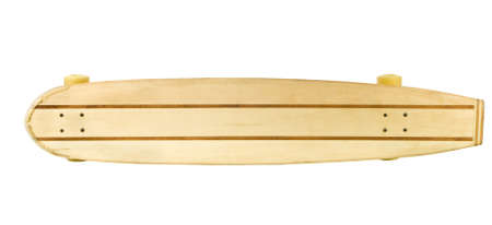 Old wood longboard skate board isolated on white photo