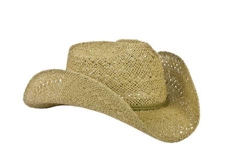 headgear: American straw worn cowboy hat