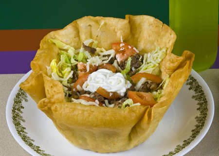 taco tortilla: Healthy mexican meal, grilled beef and vegetables taco salad on plate Stock Photo