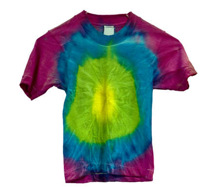 Tie dyed shirt isolated on white  Banque d'images