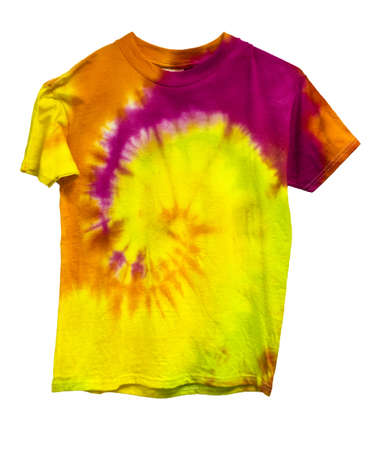 Tie dyed shirt isolated on white  版權商用圖片