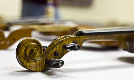 Violin head and neck in workshop