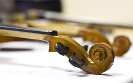 objects: Violin head and neck in workshop