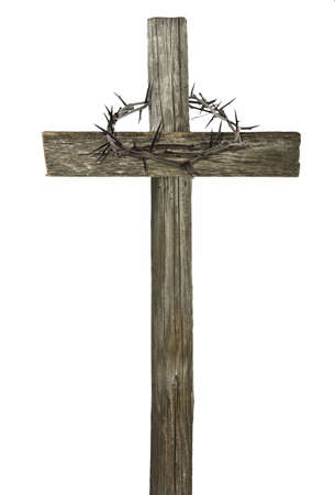Crown of thorns hanging on a wooden cross isolated on white