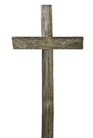 cross roads: Wooden cross isolated on white  Stock Photo