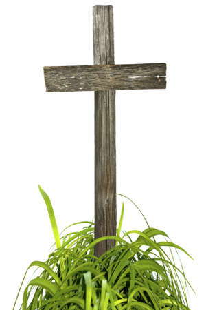 Wooden cross isolated on white  Stock Photo