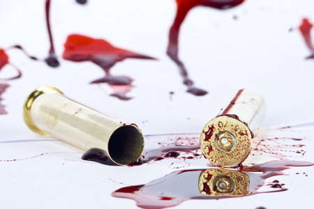 blood and crime scene concept on white photo