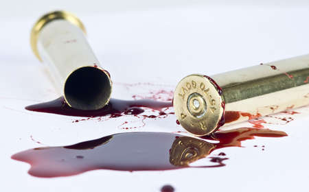 war crimes: blood and crime scene concept on white