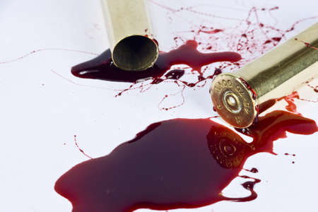 dripping: blood and crime scene concept on white