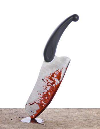 smeared: A knife smeared with blood isolated on white
