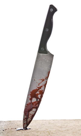 weary: A knife smeared with blood isolated on white