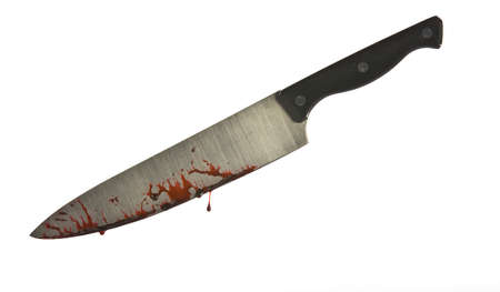 carnage: A knife smeared with blood isolated on white