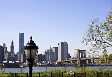 Lower Manhattan with Brooklyn bridge New York City Stock Photo - 15123619