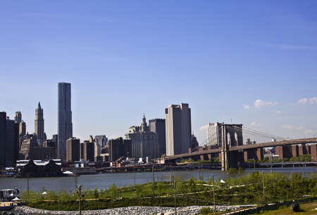 Lower Manhattan with Brooklyn bridge Skyline panarama, New York City Stock Photo - 15123620