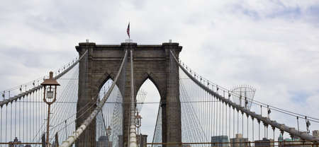 Lower Manhattan with Brooklyn bridge Skyline panarama, New York City Stock Photo - 15123616