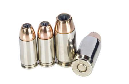 9mm: Hollow point bullets on white