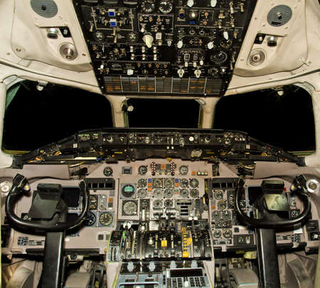 cockpit: Jet aircraft cockpit  Stock Photo