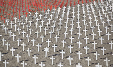 burial: The military cemetery with white cross