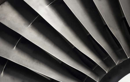 Close-up of jet engine fan blades