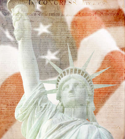 American Flag,statue of liberty and Constitution montage  photo