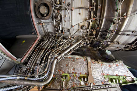 chamber of the engine: Detailed exposure of a turbine jet engine