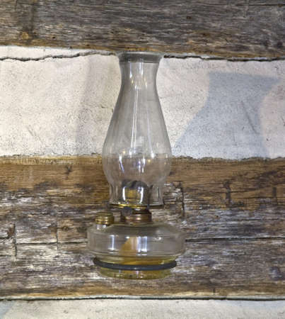 kerosene lamp: Old dusty oil lamp  Stock Photo