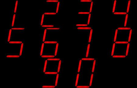 Red digital clock readout numbers photo