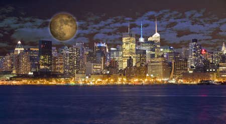 New York City Manhattan at night photo
