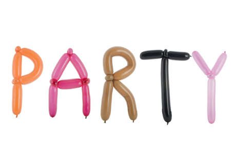 balloon animals: Party spelled out with balloons isolated on white