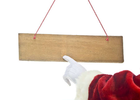 santa claus hand and blank sign isolated on white background  photo