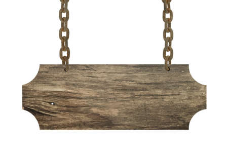 hanging sign: Vintage wood sign isolated on white Stock Photo
